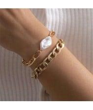 Irregular Pearl Embellished Dual Layers Alloy Women Fashion Bracelet Set - Golden