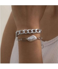 Irregular Pearl Embellished Dual Layers Alloy Women Fashion Bracelet Set - Silver