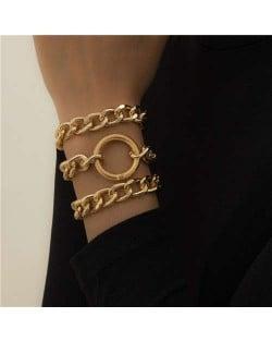 Ring Decorated Multi-layer Alloy Women High Fashion Bracelet Set - Golden