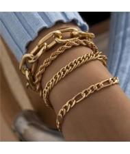 Vintage Style Artistic Design Mixed Chain Wholesale Women Alloy Bracelet Set - Golden