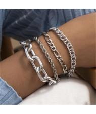 Vintage Style Artistic Design Mixed Chain Wholesale Women Alloy Bracelet Set - Silver
