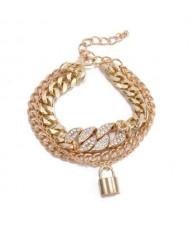Elegant Lock Pendant Multi-layer Cuban Chain Wholesale Women Bracelet - Golden