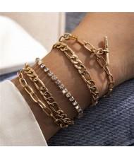 Rhinestone Embellished European High Fashion Multi-layer Women Alloy Bracelet Set - Golden