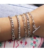 Rhinestone Embellished European High Fashion Multi-layer Women Alloy Bracelet Set - Silver