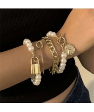Lock and Coin Pendants Artificial Pearl and Alloy Chain Mix Fashion Women Wholesale Bracelet Set - Golden