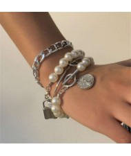 Lock and Coin Pendants Artificial Pearl and Alloy Chain Mix Fashion Women Wholesale Bracelet Set - Silver