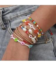 Mini Beads Flowers Fashion Bohemian Style Women Friendship Bracelet Set