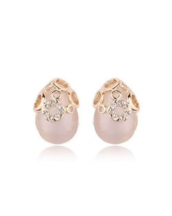 Rhinestones Embedded with Rose Gold Inlaid Opal Ear Studs