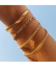 Snake Bone Chain Multi-layer Design Hip-hop Fashion Women Alloy Wholesale Bracelet Set - Golden