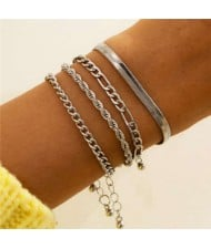 Snake Bone Chain Multi-layer Design Hip-hop Fashion Women Alloy Wholesale Bracelet Set - Silver
