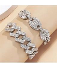 Rhinestone Inlaid U.S. High Fashion Cuban Chain Graceful Women Wholesale Bracelet Set - Silver