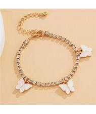 Butterfly Decorated Rhinestone Fashion Women Wholesale Bracelet - White