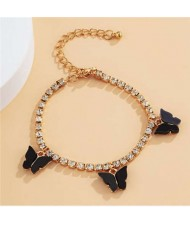 Butterfly Decorated Rhinestone Fashion Women Wholesale Bracelet - Black