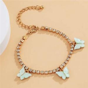 Butterfly Decorated Rhinestone Fashion Women Wholesale Bracelet - Green