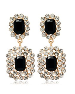 Rhinestone Squares Design Elegant Fashion Women Costume Alloy Earrings - Black