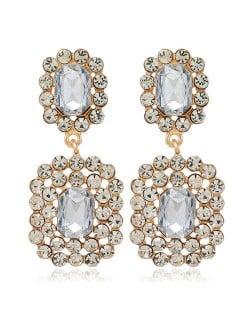 Rhinestone Squares Design Elegant Fashion Women Costume Alloy Earrings - White