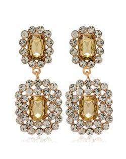 Rhinestone Squares Design Elegant Fashion Women Costume Alloy Earrings - Champagne