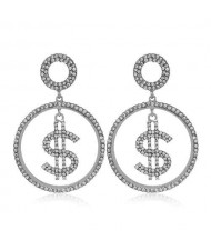 U.S. Dollar Symbol Rhinestone Round Shape High Fashion Women Costume Earrings - Silver