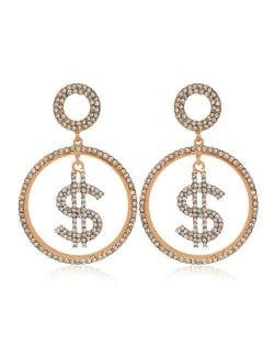 U.S. Dollar Symbol Rhinestone Round Shape High Fashion Women Costume Earrings - Golden