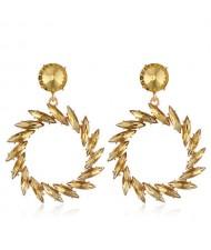 Resin Gems Floral Hoop Design Bold Fashion Women Wholesale Earrings - Champagne