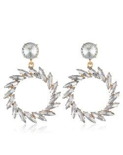 Resin Gems Floral Hoop Design Bold Fashion Women Wholesale Earrings - White