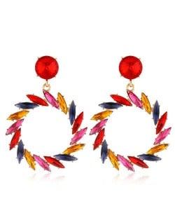 Resin Gems Floral Hoop Design Bold Fashion Women Wholesale Earrings - Multicolor