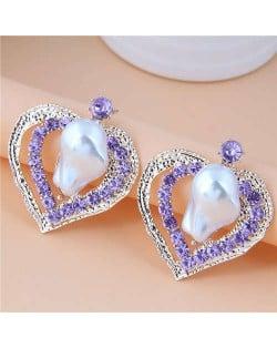 Irregular Pearl Inlaid Romantic Hollow Peach Heart Design Women Stud Wholesale Earrings - Violet