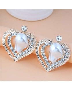 Irregular Pearl Inlaid Romantic Hollow Peach Heart Design Women Stud Wholesale Earrings - White