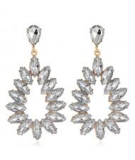 Bright Hollow Waterdrop Bold Fashion Women Drop Statement Earrings - White