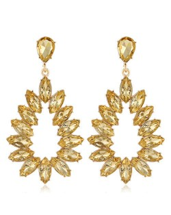 Bright Hollow Waterdrop Bold Fashion Women Drop Statement Earrings - Champagne