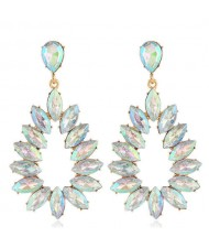 Bright Hollow Waterdrop Bold Fashion Women Drop Statement Earrings - Luminous White