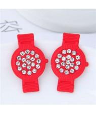 Rhinestone Embellished Cute Wrist Watch Design Alloy Women Stud Earrings - Red