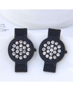 Rhinestone Embellished Cute Wrist Watch Design Alloy Women Stud Earrings - Black