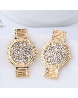 Rhinestone Embellished Cute Wrist Watch Design Alloy Women Stud Earrings - Golden