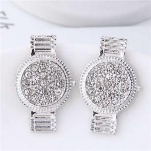 Rhinestone Embellished Cute Wrist Watch Design Alloy Women Stud Earrings - Silver