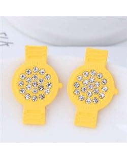 Rhinestone Embellished Cute Wrist Watch Design Alloy Women Stud Earrings - Yellow