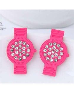 Rhinestone Embellished Cute Wrist Watch Design Alloy Women Stud Earrings - Rose