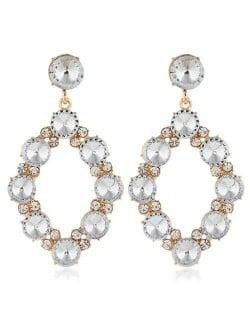 Shining Rhombus Shape Bold Western Fashion Women Drop Wholesale Earrings - White