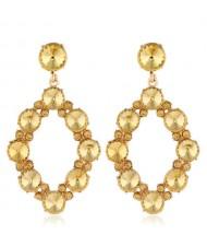 Shining Rhombus Shape Bold Western Fashion Women Drop Wholesale Earrings - Yellow