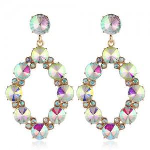 Shining Rhombus Shape Bold Western Fashion Women Drop Wholesale Earrings - Luminous White