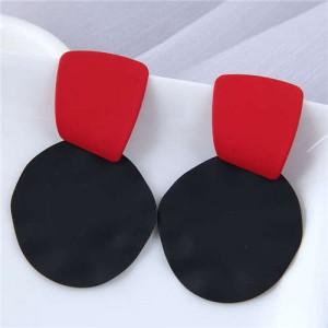 U.S. and European High Fashion Geometric Combo Design Bold Fashion Women Statement Earrings - Black