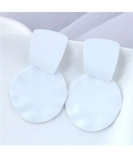 U.S. and European High Fashion Geometric Combo Design Bold Fashion Women Statement Earrings - White
