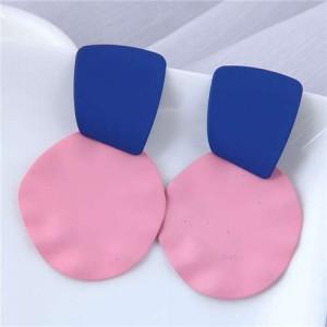 U.S. and European High Fashion Geometric Combo Design Bold Fashion Women Statement Earrings - Pink