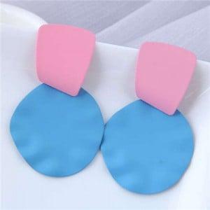 U.S. and European High Fashion Geometric Combo Design Bold Fashion Women Statement Earrings - Blue