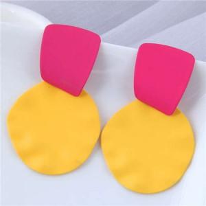 U.S. and European High Fashion Geometric Combo Design Bold Fashion Women Statement Earrings - Yellow