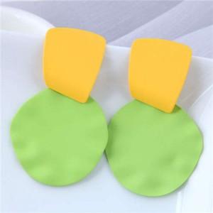 U.S. and European High Fashion Geometric Combo Design Bold Fashion Women Statement Earrings - Green