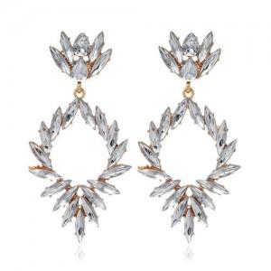 Creative Leaves Pattern Hollow Women Wholesale Drop Earrings - White