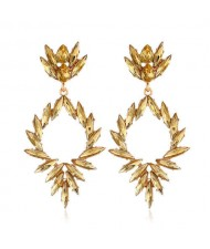 Creative Leaves Pattern Hollow Women Wholesale Drop Earrings - Yellow