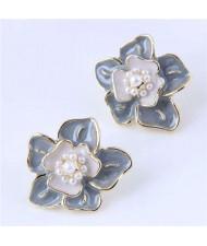 Elegant Oil-spot Glazed Flower Design Korean Fashion Wholesale Stud Earrings - Gray