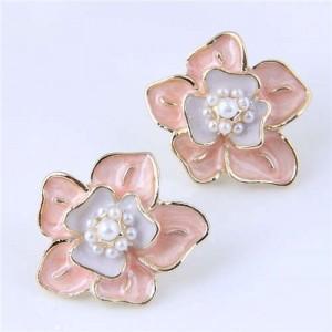 Elegant Oil-spot Glazed Flower Design Korean Fashion Wholesale Stud Earrings - Pink